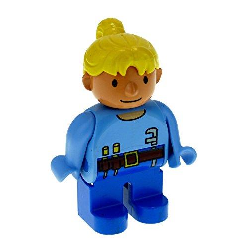 1 x Lego Duplo Figur Frau Wendy Hose dunkel blau Top hell blau mit...
