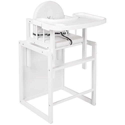 roba Kombi-Hochstuhl, Kinderhochstuhl mit Essbrett wandelbar zu Tisch & Stuhl, Holz Hochstuhl weiß, Sitz...