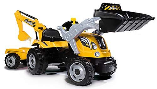 Smoby 7600710301 - Traktor Builder Max - Trettraktor mit Anhänger,...