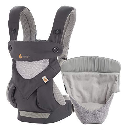 Ergobaby Babytrage 360 Cool Air Carbon Grey inkl. Neugeboreneneinsatz,...