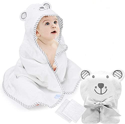 Babybadetuch, Babyhandtuch mit Kapuze, Kleinkinder Badetücher mit 2...