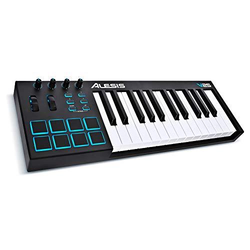 Alesis V25 - Tragbarer 25-Tasten USB-MIDI Keyboard Controller mit 8 hintergrundbeleuchteten Pads, 4...