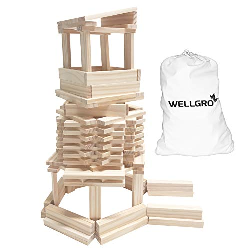 WELLGRO Natur Holzbausteine - Holzsteine zum Bauen -...