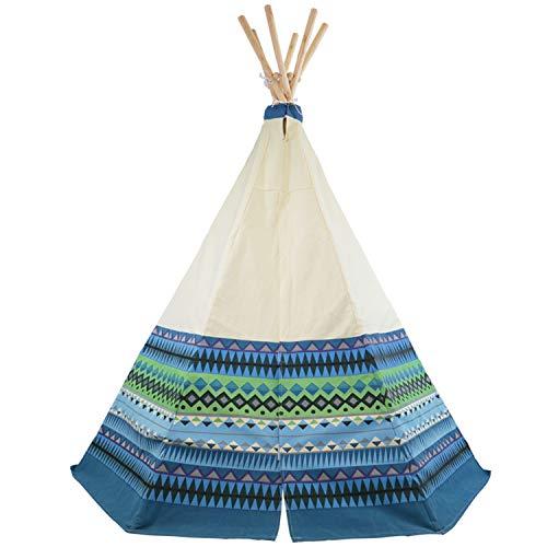 Tipi Spielzelt für Kinder Wigwam Spiel-Zelt, Holzstangen und Blau...