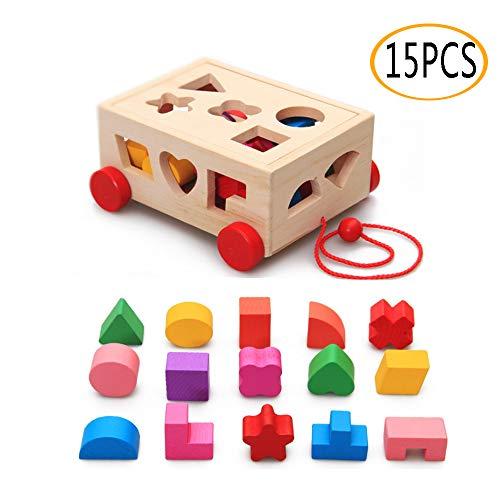 OMZGXGOD Holzspielzeug Steckspiel aus Holz, Steckbox...
