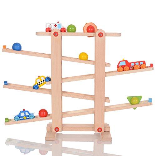 LCP Kids Auto Holz-Kugelbahn Spielzeug für Kinder ab 1...