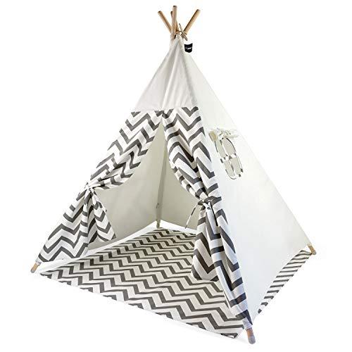 Hej Lønne Kinder Tipi, weißes Zelt mit grauen Zacken, ca. 120 x 120...