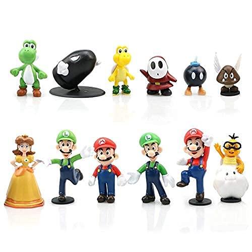 Yisscen Mini Figuren Set, Super Mario-Figuren Party, 12 Stück Mario...