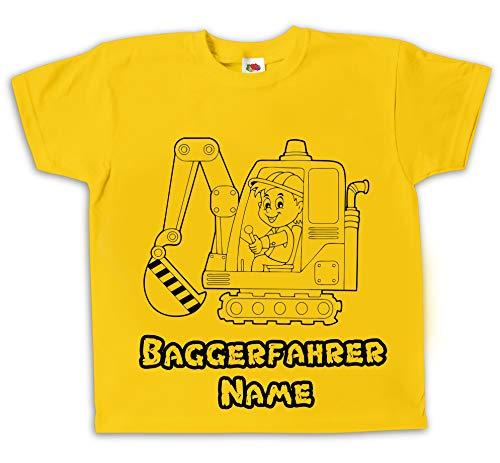 Kinder T-Shirt Baggerfahrer Bagger gelb Bedruckt mit Wunschname...