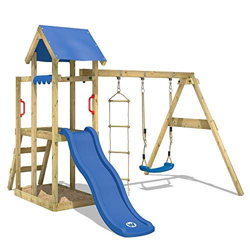 WICKEY Spielturm Klettergerüst TinyPlace Kletterturm Spielplatz mit Schaukel und Rutsche, Sandkasten und...