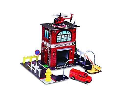 Maisto Built-N-Play Fire Station Set: Spielzeuggebäude aus Karton,...