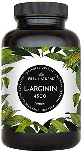 L-Arginin - 365 vegane Kapseln mit 4500mg pflanzlichem L Arginin HCL aus Fermentation (davon 3750mg reines...