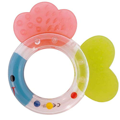 Bieco 41001154 Baby Rasselbeißer Fisch, Ringrassel und Beisser In einem, Babyrassel, Rassel Fisch mit Flossen...