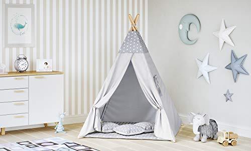 MALATEC Tipi Zelt für Kinder Spielzelt Indianer Baumwolle 3 Kissen...