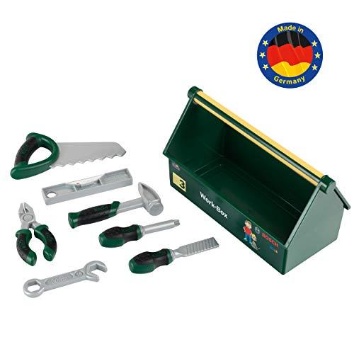 Theo Klein 8573 7-teiliges Werkzeug-Set I Stabile Box mit praktischem Tragegriff I Maße: 30,25 cm x 14 cm x...