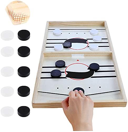 CXSMKP Schnelles Sling-Puck-Spiel, Holz Schnell Sling Puck Match-Spiel...