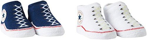 Converse Unisex Baby, Socken, 2 Pack Booties 0-6 Monate ,Blau (althletic Navy/converse White)