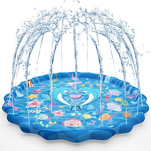 COSANSYS Sprinkler Matte Wasserspielmatte Kinder Garten 170CM Splash Pad Sprinkler Play Matte Pool Pad Sommer...