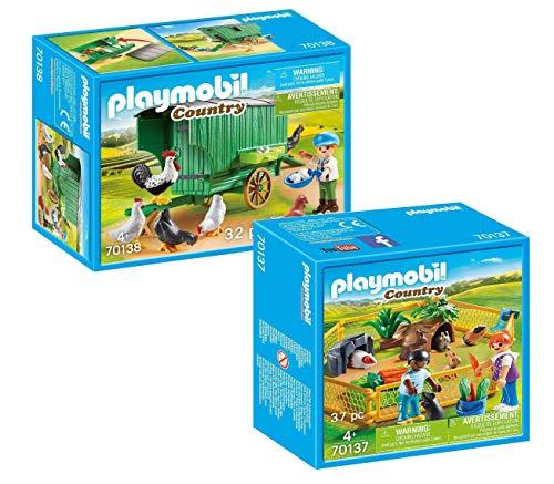 Playmobil Bauernhof 2-teiliges Set: 70137 Kleintiere im Freigehege und...
