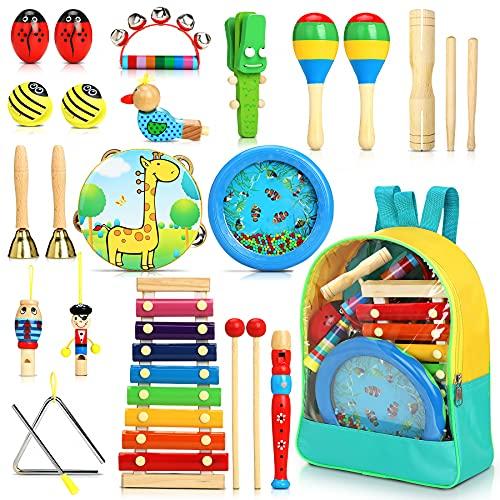 Jojoin 24 Stück Musikinstrumente für Kinder, Holz Percussion Set,...