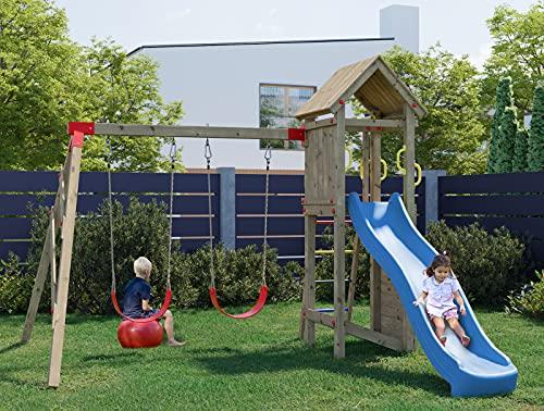 Hori® Spielturm Klettergerüst stabiles Holzdach mit Schaukel,...