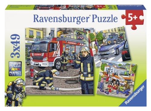 Ravensburger Kinderpuzzle 09335 - Helfer in der Not - 3 x 49 Teile