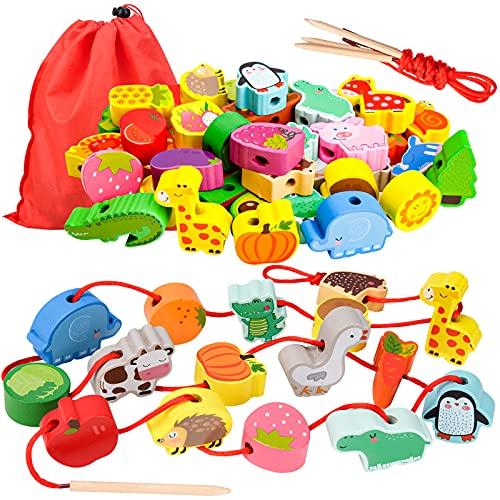 Geschenk für 1-3 Jährige Mädchen Junge, Holzspielzeug Threading Toy...