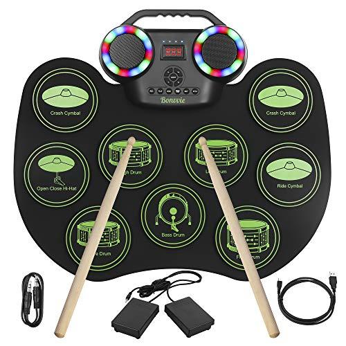 E-Drum Electronic Drum Kit,Bonvvie Roll-Up-Drum-Kit mit 9 Pads, MIDI...