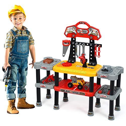 COSTWAY 121-teiliges Kinder Werkbank Set, Kinder Rollenspiel Bank mit...