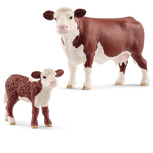 Schleich Farm Life Set Hereford Kuh mit Kalb 13867 13868 Spielfiguren...