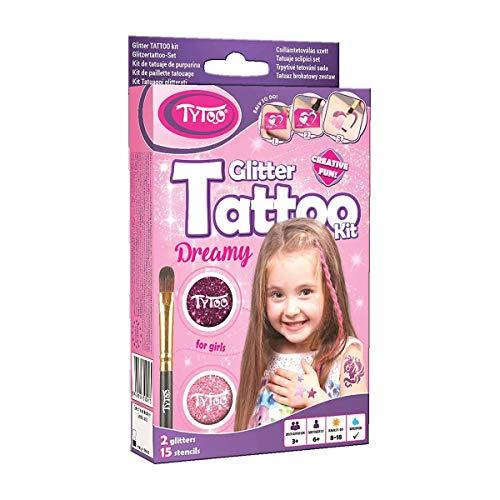 Tytoo Glitzertattoo Set für Mädchen mit 15 Schablonen- hypoallergen...