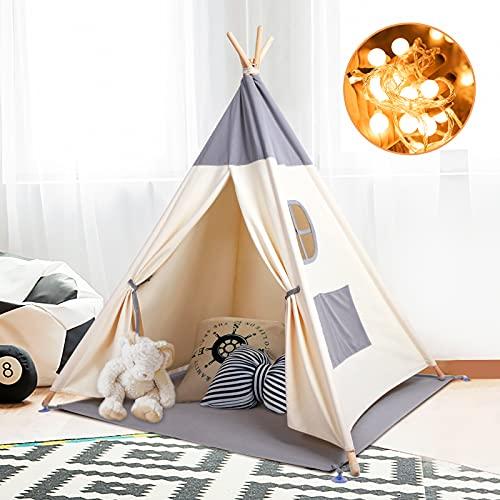 Kinderzelt Spielzelt Tipi Zelt Teepee für Kinder aus 100% Baumwolle +...