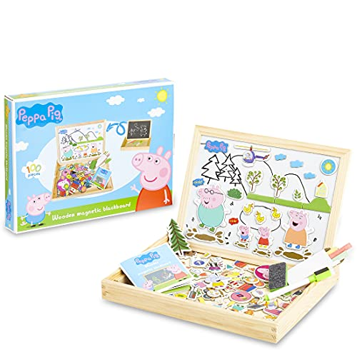 Peppa Pig Magnetisches Holzpuzzle, Magnettafel Kinder Doppelseitige...
