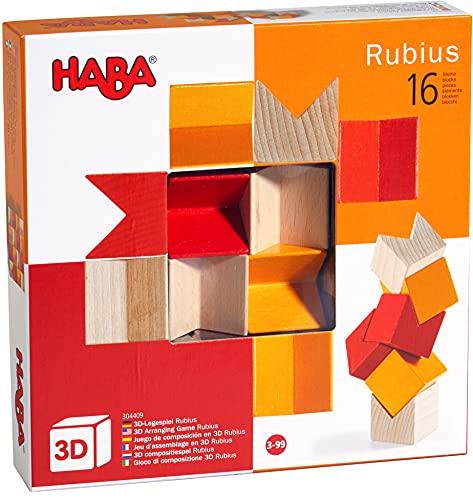 HABA 304409 - 3D-Legespiel Rubius, 16 Holzbausteine in 3 Farben für...