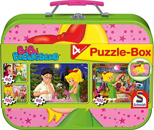 Schmidt Spiele 55595 Bibi Blocksberg, 4 Kinderpuzzle im Metallkoffer,...