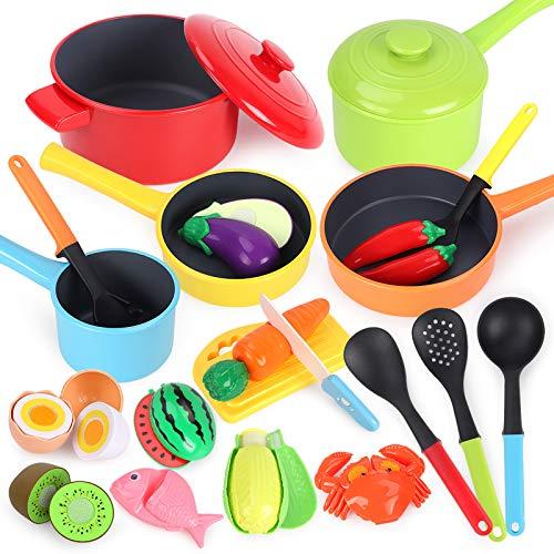 GILOBABY Küchenspielzeug für Kinder,kindergeschirr spielküche mit...