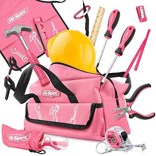 Hi-Spec Kinderwerkzeug in Pink-Rosa. Werkzeug in Kindergröße Hammer,...