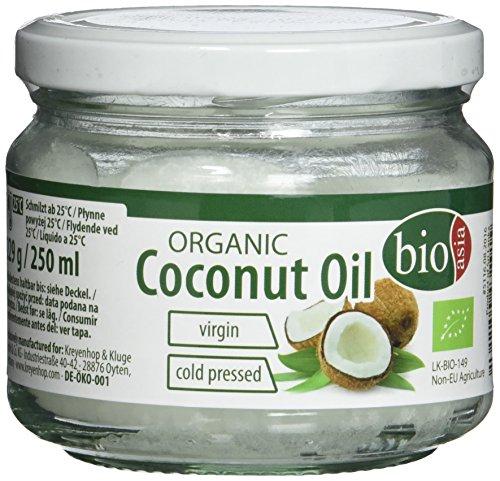 BIOASIA Bio Kokosöl, kaltgepresst, naturbelassen ohne Zusatzstoffe, veganes Fett zum Kochen, Braten und...