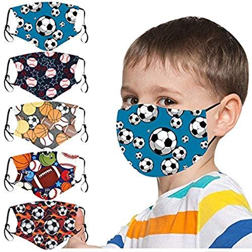 JSxhisxnuid 5 Stück Mundschutz Kinder mit Fußball Motiv Baumwolle Waschbar Atmungsaktive Mund und...