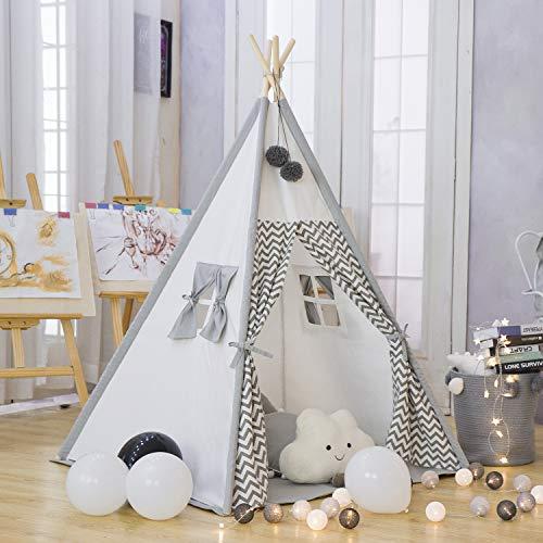 TreeBud Kinder Tipi Spielzelt - Baumwolle Leinwand Kind Indian Tipi...