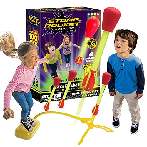 Stomp Rocket Ultra Rocket LED, 4 Raketen Outdoor Raketenspielzeug...