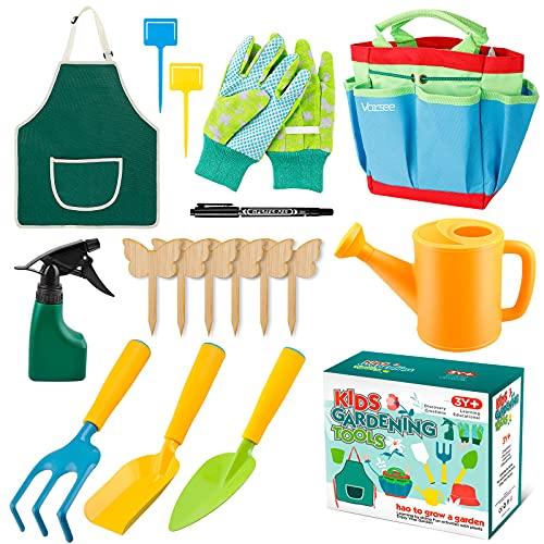 Vorsee Kinder Gartengeräte Set, 17 teiliges Gartenwerkzeug Kit mit...