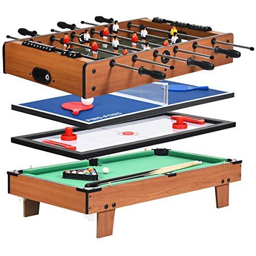 COSTWAY 4 in 1 Spieltisch, Billardtisch & Tischtennistisch & Air Hockeytisch & Tischkicker,...