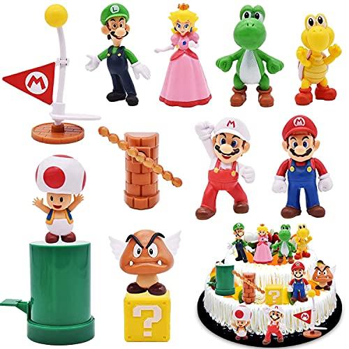 WELLXUNK Mario Figuren Set, 12 Stück Cartoons Kuchen Topper...