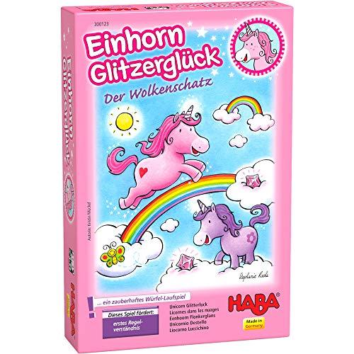 HABA 300123 - Einhorn Glitzerglück Der Wolkenschatz, zauberhaftes Würfelspiel mit 60 Glitzerkristallen für...
