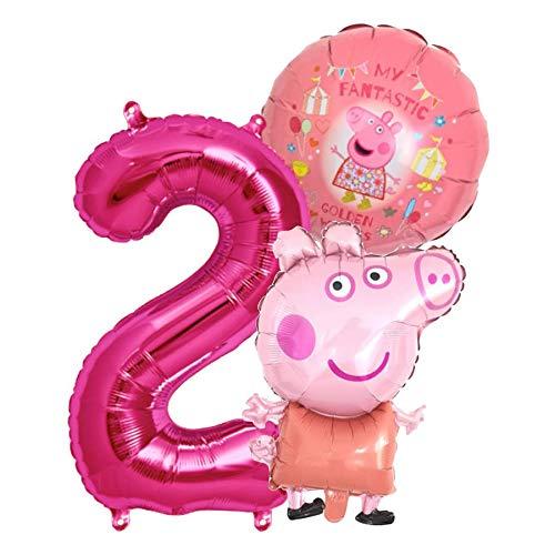 Peppa Wutz Girls Set Folienballon + Riesenzahl 1-8 Zahl 2...
