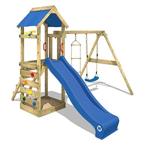WICKEY Spielturm Klettergerüst FreeFlyer mit Schaukel & blauer...