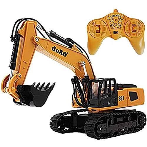 deAO Realistischer 6-Kanal-Bagger mit Fernbedienung, Bagger Bulldozer...