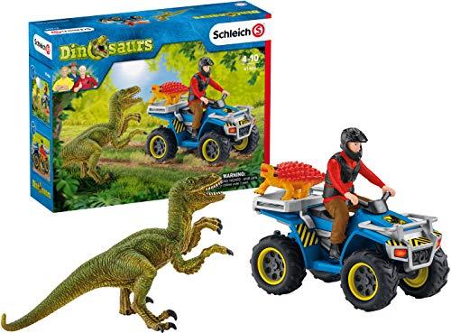 Schleich 41466 Dinosaurs Spielset - Flucht auf Quad vor Velociraptor,...