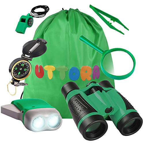 UTTORA Kinder Fernglas Spielzeug Set,Draussen Forscherset Kit Abenteuerspielzeug für Kinder mit Kompass Lupe...